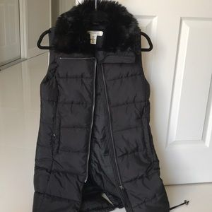 Faux fur collar long vest